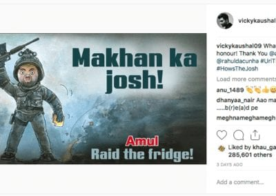 Vicky Kaushal responds to Amul after its delicious tribute to Uri- The SurgicalStrike