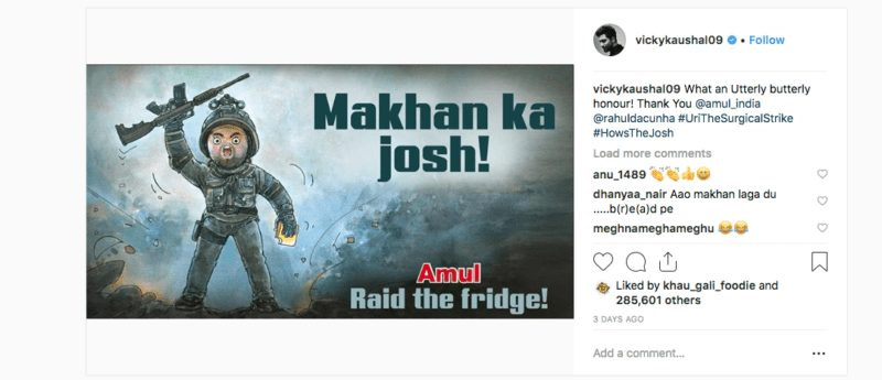 Vicky Kaushal responds to Amul after its delicious tribute to 'Uri: The Surgical Strike'