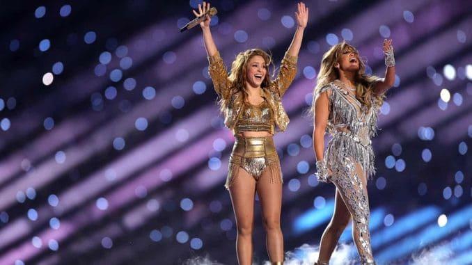 Shakira and Jennifer Lopez at Super Bowl Halftime Show