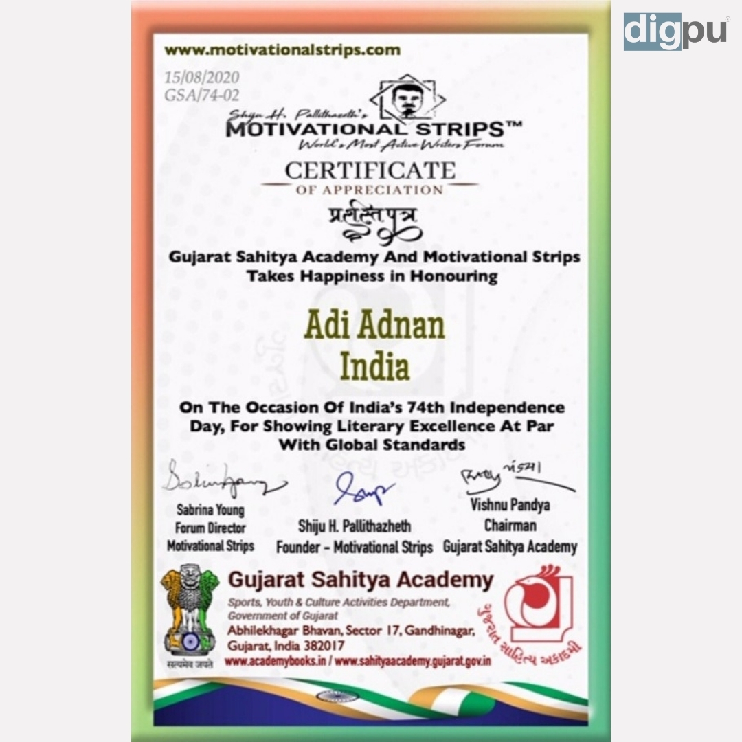 Young poet from Pulwama awarded by Gujarat Sahitya Academy and Motivation Strips - Kashmir News - Dilpaziir - Digpu